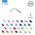 **BLOW OUT SALE** Titanium Nose Screw 2mm Gem - Choose Your Color 20G