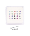 20 Pack 925 Sterling Silver Straight Nose Studs Rings 1.5mm 2.5mm Round Stones