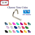 **BLOW OUT SALE**  316L Surgical Steel Micro Small Gem Nose Screw 20G  - Choose Your Colors