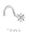 14K Solid White Gold Nose Bone Flower CZ Cluster -Choose Your Style