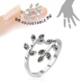 **BLOW OUT SALE** Rhodium Plated Brass Ring Black CZ Vine