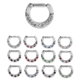 **BLOW OUT SALE**  316L Surgical Steel Septum Clicker Helix Nose Ring Hoop CZ Ring 16G