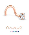 14K Rose Gold Nose Jewelry 3mm Square CZ -Choose Your Style