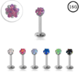 **BLOW OUT SALE** Surgical Steel Labret Monroe Stud Ring 6mm Screw Post Choose Your Opal Star 16G