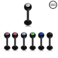 **BLOW OUT SALE** Blackline Surgical Steel Labret Monroe Stud Ring 6mm Screw Post Choose Your Opal 16G