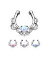 **BLOW OUT SALE**  Clip On Fake Septum Clicker Non Piercing Nose Ring Hoop Opal