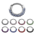 "**BLOW OUT SALE**  316L Surgical Steel Septum Clicker Helix Nose Ring Hoop CZ 1/4"" 6mm 14G"
