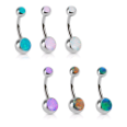 "**BLOW OUT SALE** 316L Surgical Steel Navel Belly Button Ring 3/8"" Fire Opal Stones 14G"
