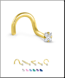 Yellow Gold Nose Jewelry 1.5mm Square CZ -Choose Your Style