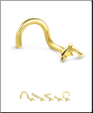 14K Solid Yellow Gold Nose Stud 3.5mm Dolphin- Choose Your Style