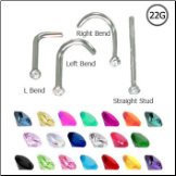 316L Surgical Steel Nose Ring Micro 1.5mm 22G  - Choose Your Style and Color
