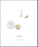 14KT Yellow Gold Bioflex Labret Style Push Pin Nose Stud -Choose Your Size Bezel Set CZ