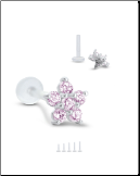 Bioflex Labret Style Push Pin Nose Stud or Nose Screw 6.5mm Flower