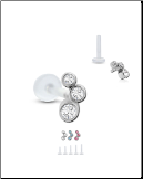 Bioflex Labret Style Push Pin Nose Stud or Nose Screw Triple Stone