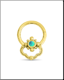14KT Yellow Gold Septum Clicker Helix Ear Cartilage Blue Opal Nose Ring 16G