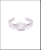 925 Sterling Silver Square Toe Ring