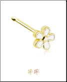 316L Surgical Steel Nose Bone Stud White Flower 20G
