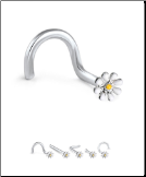 316L Surgical Steel Nose Stud Daisy Flower 20G