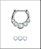 316L Surgical Steel/Brass Hinged Septum Clicker Faux Opal 16G
