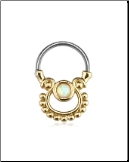 316L Surgical Steel/Gold IP Plated Brass Hinged Septum Clicker White Opal 16G
