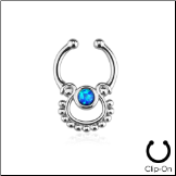 **BLOW OUT SALE** Fake Septum Clicker Hanger Clip On Non Piercing Blue Opal Nose Ring Hoop Indian