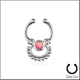 **BLOW OUT SALE** Fake Septum Clicker Hanger Clip On Non Piercing Pink Opal Nose Ring Hoop Indian