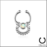 **BLOW OUT SALE** Fake Septum Clicker Hanger Clip On Non Piercing White Opal Nose Ring Hoop Indian