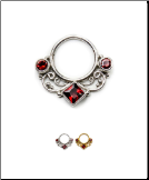 925 Sterling Silver Septum Clicker Nose Ring Ruby Red CZ 18G