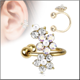 Gold IP Plated Fake Ear Cuff Clip On Non Piercing Hoop Flower Aurora and Clear CZ
