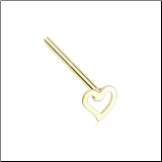 Gold Plated 316L Surgical Steel Heart Nose Stud Choose Your Style 20G