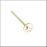 Gold Plated 316L Surgical Steel Peace Sign Nose Stud Choose Your Style 20G