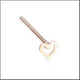 Rose Gold Plated 316L Surgical Steel Heart Nose Stud Choose Your Style 20G
