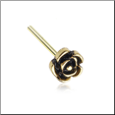 Gold Plated 316L Surgical Steel Rose Flower Nose Stud Choose Your Style 20G