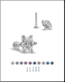 316L Surgical Steel Labret Style Nose Monroe Stud Screw Post Flower 18G