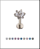 "**BLOW OUT SALE** 316L Surgical Steel Labret Style Nose Monroe Stud 5/16"" Screw Post Flower - Choose Your Color 16G"