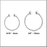 925 Sterling Silver Fake Septum Clicker Hanger Clip On Choose Your Size Nose Ring Twisted Hoop