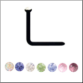 **BLOW OUT SALE** Titanium Plated Flexible L Bend Nose Stud 1.5mm Gem - Choose Your Color 20G
