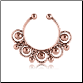 Rose Gold PVD Coated 316L Surgical Steel Fake Septum Clicker Hanger Clip On Non Piercing Nose Ring Hoop Beaded
