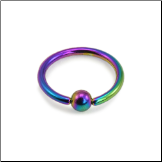 "Nose Ring Hoop Septum Titanium 1/4"" Rainbow 18G"