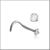 316L Surgical Steel Nose Screw 2mm CZ 22g