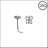 **BLOW OUT SALE** 316L Surgical Steel L Bend Nose Stud Ring Butterfly 20G
