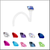 **BLOW OUT SALE** BioFlex Nose Screw 2mm Square Gem -Chose Your Color 18G