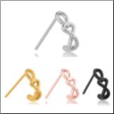 316L Surgical Steel Nose Hugger Heart Chain Stud Ring - Choose Your Style & Color 20G