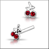 925 Sterling Silver Nose Studs Pins Straight or L Bend Cherries CZ