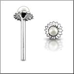 925 Sterling Silver Nose Stud Straight or L Bend 3.5mm Pearl Flower