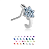 316L Surgical Steel Nose Stud Nose Hugger- Choose Your Style Flower 20G
