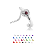316L Surgical Steel Nose Stud Nose Hugger- Choose Your Style Heart CZ 20G