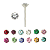 925 Sterling Silver Straight or L Bend Nose Stud -Choose Your Color 3.5mm Flower Clawed Gem