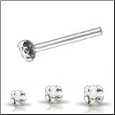 925 Sterling Silver Straight Nose Stud L Bend Clear Gem Choose Your Size