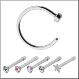 "**BLOW OUT SALE** 316L Surgical Steel Nose Bone 2mm CZ 2.5mm Star 5/16"" Hoop Mixed 6 Pack 20G"